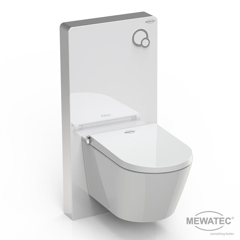 MEWATEC Spuelkasten MagicWall Spuelwand weiss Dushlet Memphis Dusch-WC Komplettanlage rechts